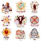 农厂商标 手字法墨水 种田的农民和工艺标志,标志 免版税图库摄影