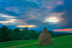 农厂场面在Breb Maramures罗马尼亚 免版税库存图片
