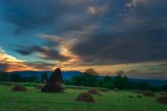 农厂场面在Breb Maramures罗马尼亚 库存图片