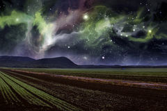 农厂夜Starscape 免版税图库摄影