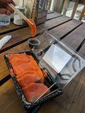农厂新鲜的三文鱼sushimi厚片 免版税图库摄影