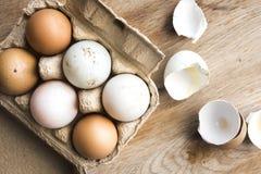 农厂新鲜的鸡蛋不同的树荫在木头的 库存图片