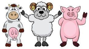 农厂生活 动画片乐趣牲口集合 传染媒介例证,隔绝在白色背景 逗人喜爱的宠物字符包括猪,嘘 皇族释放例证