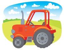 农厂红色拖拉机 免版税库存图片