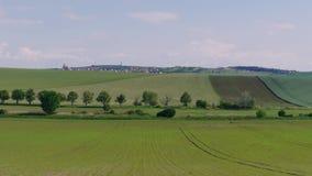 农厂绿色领域环境美化与农村房子,天空蔚蓝 股票录像