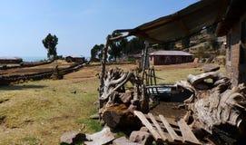 农厂taquile房子的海岛 库存图片
