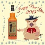 农历新年海报,与地球猪的卡片在阔边帽 库存例证