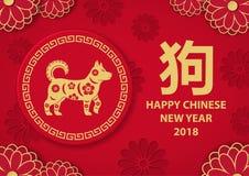 农历新年海报,象形文字符号化狗和它的i 免版税库存照片