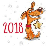 农历新年的标志2018年 狗的年 设计为 免版税库存图片