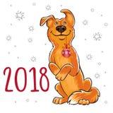 农历新年的标志2018年 狗的年 设计为 库存例证