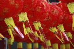 农历新年的红色纸灯装饰 库存图片