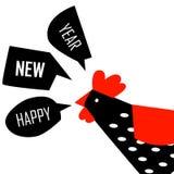农历新年与明亮的雄鸡的贺卡 免版税库存图片