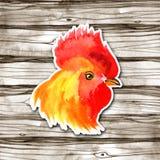 农历新年与红色雄鸡的卡片设计,黄道带标志2017年,在水彩木头背景 图库摄影