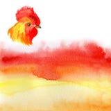 农历新年与红色雄鸡的卡片设计,黄道带标志2017年,在水彩火热的背景 免版税库存照片