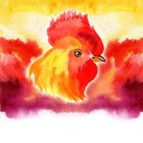 农历新年与红色雄鸡的卡片设计,黄道带标志2017年,在水彩火热的背景 免版税库存图片