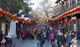 农历新年商业街人群 免版税图库摄影