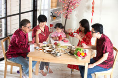 农历新年团聚晚餐 免版税库存照片