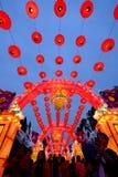2016年农历新年寺庙市场和灯会在成都 免版税库存照片