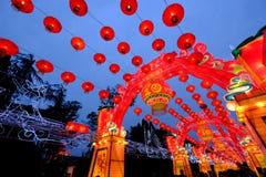2016年农历新年寺庙市场和灯会在成都 图库摄影