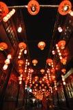 2014年农历新年寺庙市场和灯会 库存图片