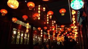 2014年农历新年寺庙市场和灯会 股票视频