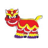 农历新年庆祝的中国狮子在概略的样式 免版税库存照片