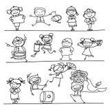 画农历新年漫画人物的手 库存图片