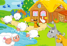 农场和动物临近湖 数字式例证 库存照片