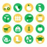 农场和大农场 被设置的从事园艺的图标 免版税库存图片