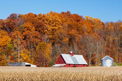 农场和秋天山坡 库存照片