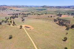 农场土地鸟瞰图在Cowra NSW澳大利亚附近的 免版税库存图片