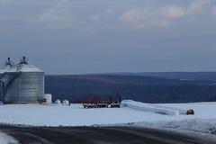 农场在冬天 库存图片