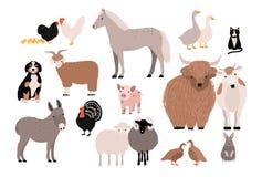 农场宠爱五颜六色的收藏 动物逗人喜爱的国内集 在白色背景的手拉的传染媒介例证 向量例证