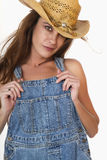 农场工人深色的女性农夫 免版税库存照片