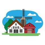 农场的传染媒介例证 免版税库存照片