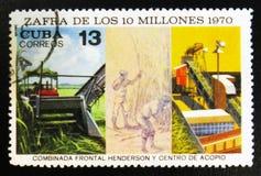 农场的工作者致力收获10百万,大约1970年 库存图片