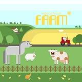 农场 在农场的家畜,农村风景 传染媒介材料de 库存照片