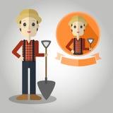农夫吉祥人动画片伟大为其中任一使用 eps10开花橙色模式缝制的rac ric缝的镶边修整向量墙纸黄色 库存照片