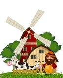 农夫和母牛在农场 免版税库存照片