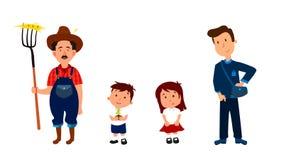 农夫和他的儿童漫画人物信息图表、网站和打印装置的 库存图片