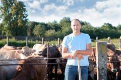 农夫在有奶牛的农场工作 免版税库存图片
