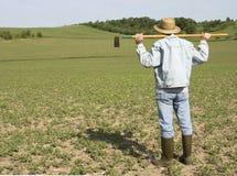 农夫在阳光下 图库摄影