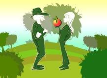 农夫夫妇在有机伊甸园农场 免版税库存照片