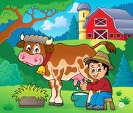 农夫奶牛图象2 免版税库存照片
