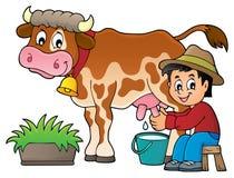 农夫奶牛图象1 免版税库存照片