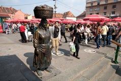 农夫妇女的纪念碑在萨格勒布,克罗地亚 库存照片