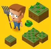 农夫孩子和他的农场 免版税库存照片