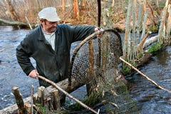 农夫抓住鱼在使用箍网渔陷井的河 免版税库存图片