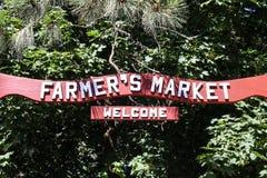 农夫星期六市场标志 免版税库存图片