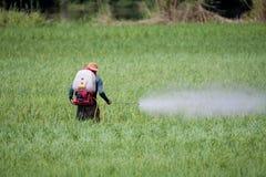 农夫杀虫剂喷洒 免版税库存图片